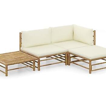 Loungegrupp för trädgården med gräddvita dynor 4 delar bambu, Loungemöbler