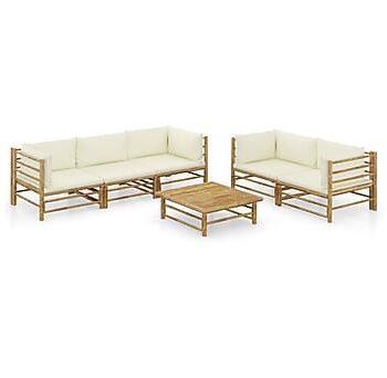 Loungegrupp för trädgården med gräddvita dynor 6 delar bambu, Loungemöbler