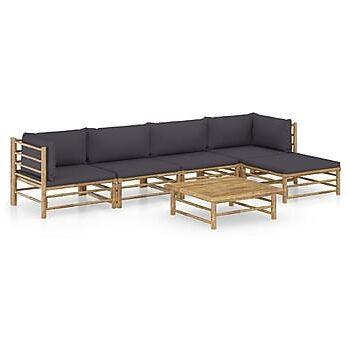 Loungegrupp för trädgården med mörkgrå dynor 6 delar bambu, Loungemöbler