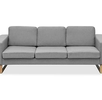 Soffa 3-sits tyg ljusgrå, 3-sits soffor