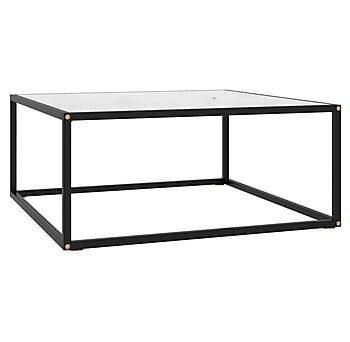 Soffbord med vit marmor glas 80x80x35 cm, Soffbord