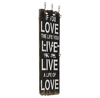 Väggmonterad klädhängare med 6 krokar LOVE LIFE 120x40 cm, Klädhängare & hängare