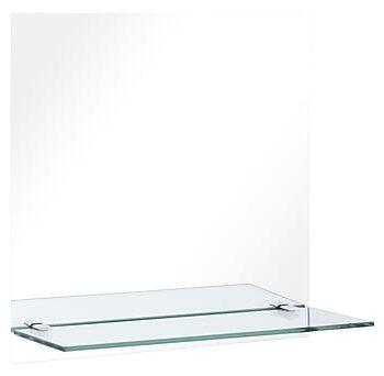 Väggspegel med hylla 50x50 cm härdat glas, Speglar
