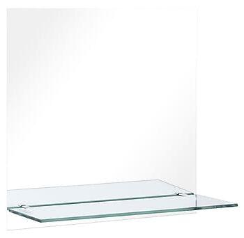 Väggspegel med hylla 60x60 cm härdat glas, Speglar